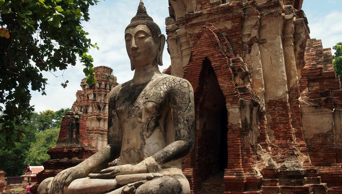 Landscapes trees ruins buddha buddhism thailand statues temple wallpaper
