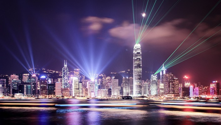 Lights hong kong city skyline citynight light beams wallpaper