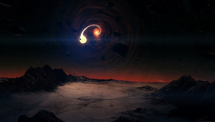 Black hole scene wallpaper