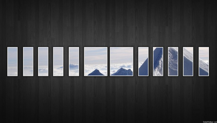 Abstract mountains nature snow dark wall window panes wallpaper