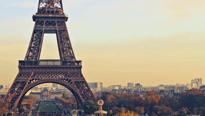 Eiffel tower paris cityscapes sunset wallpaper