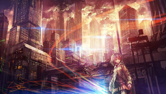 Buildings short hair scenic skyscapes anime girls wallpaper