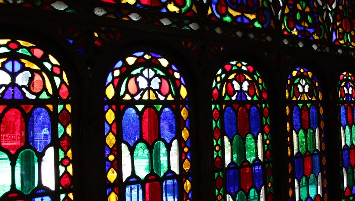 Iran ancient stained glass qazvin wallpaper
