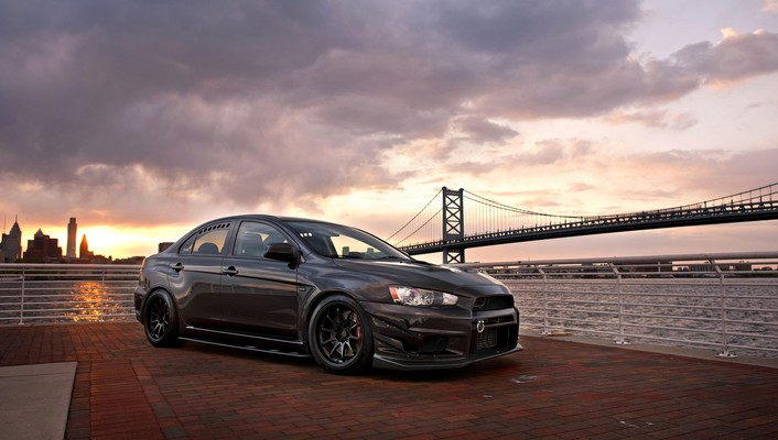 Lancer evolution x tuned black stance sea wallpaper