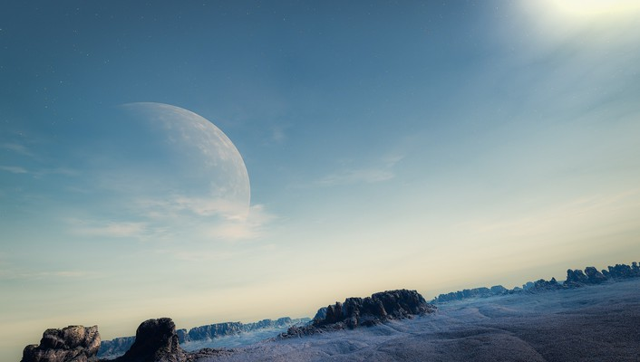 Moon landscapes skyscapes wallpaper