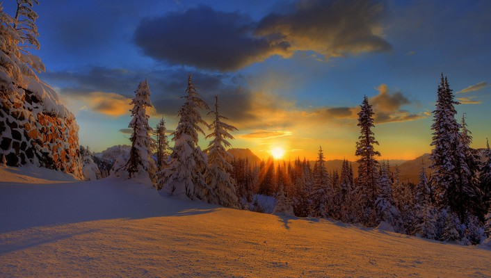 Sunset snow paradise wallpaper