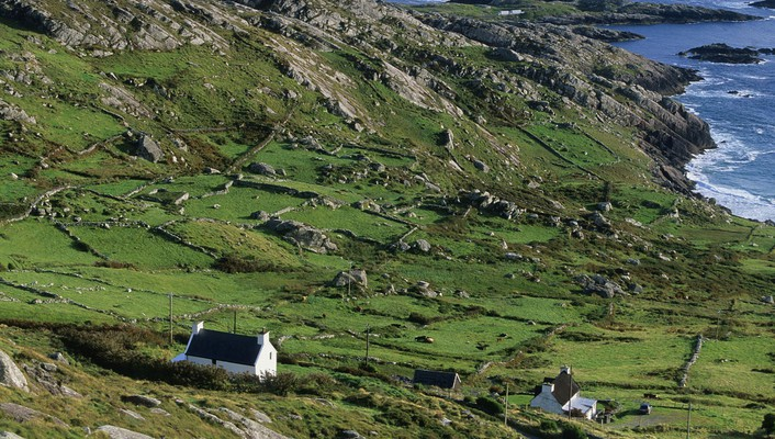 Farms on derrynane bay in ireland wallpaper