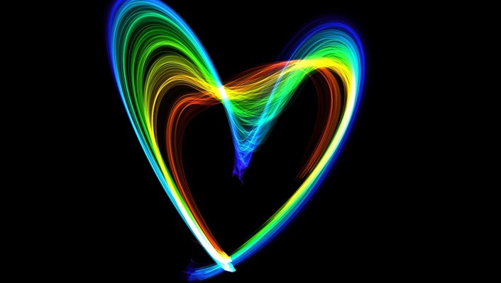 Multicolor rainbows hearts flame wallpaper