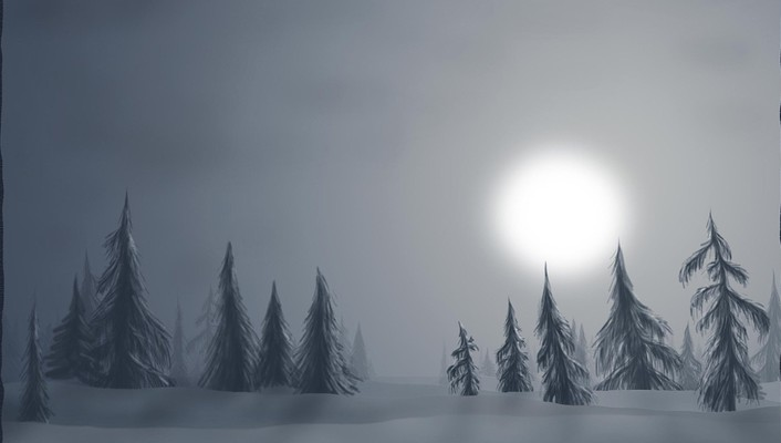 Fantasy winter haze landscape wallpaper