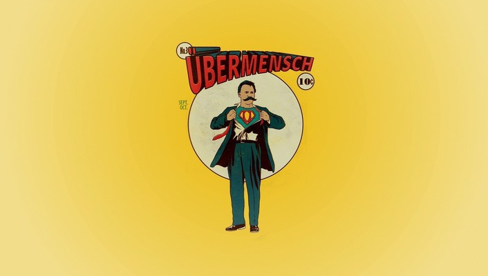 Minimalistic superman parody friedrich nietzsche wallpaper