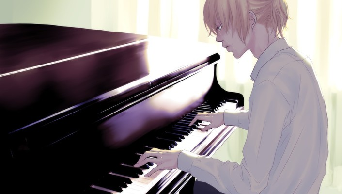 Blondes pants piano tears sad shirts sitting ponytails wallpaper