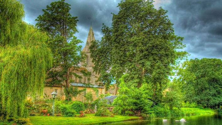 Lovely riverside country church hdr wallpaper