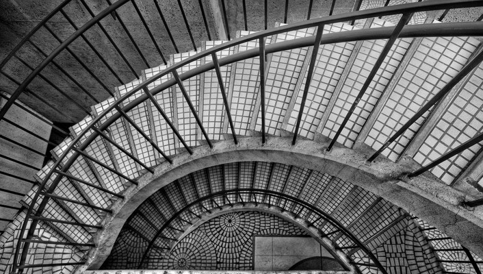 Architecture grayscale stairways tiles wallpaper