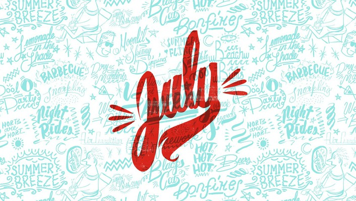 Text typography july wallpaper