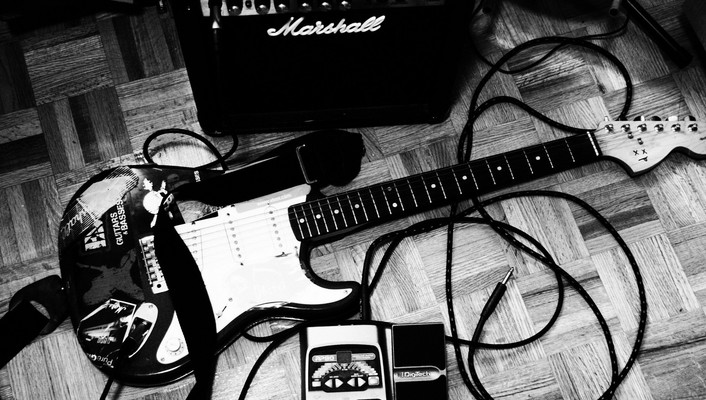 Amplifiers grayscale guitars marshall music wallpaper