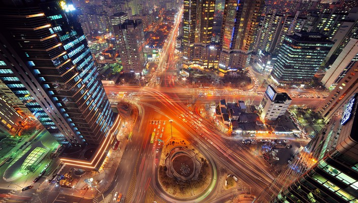 Cityscapes night lights urban buildings skyscrapers wallpaper