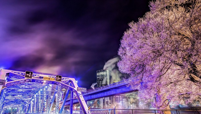 Purple lit langevin bridge in calgary hdr wallpaper