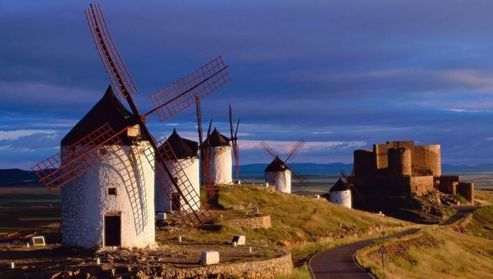 Landscapes nature spain windmills wallpaper