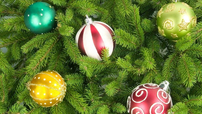 Trees multicolor balls christmas stripes wallpaper