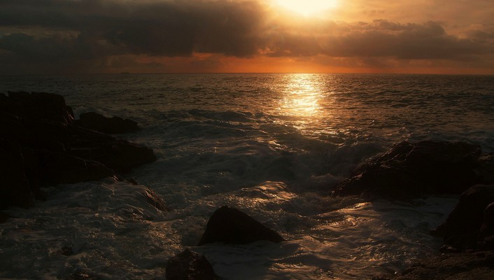 Sunset waterscapes sea wallpaper