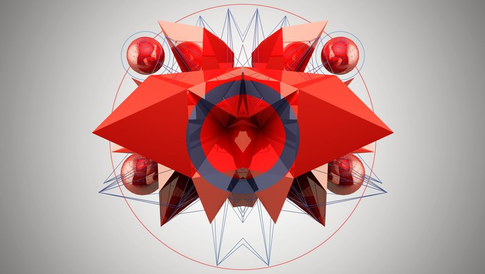 Abstract compasses red white wallpaper