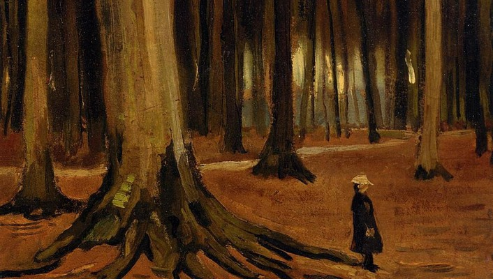 Paintings trees forest vincent van gogh artwork wallpaper