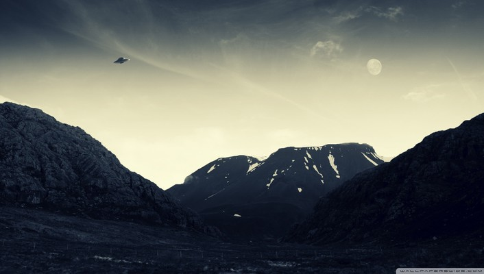 Mountains nature flying ufo wallpaper