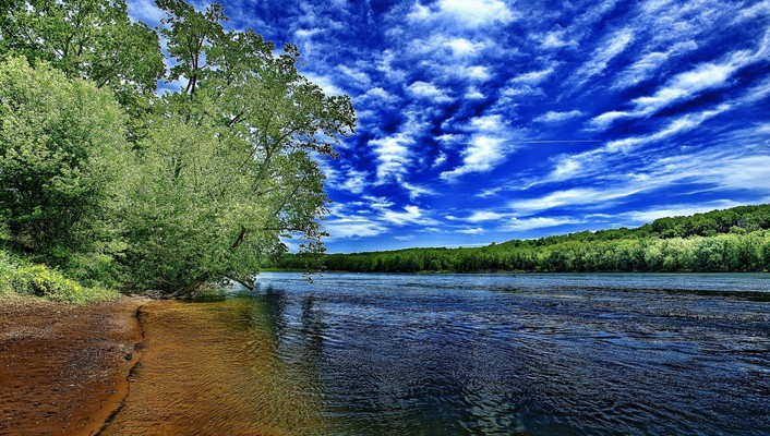 Clouds nature trees rivers skies sky wallpaper