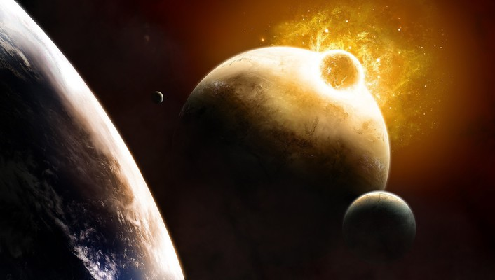Impact outer space planets wallpaper