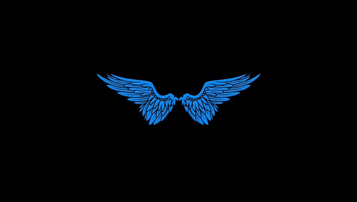 Angels blue wings black minimalistic simple wallpaper