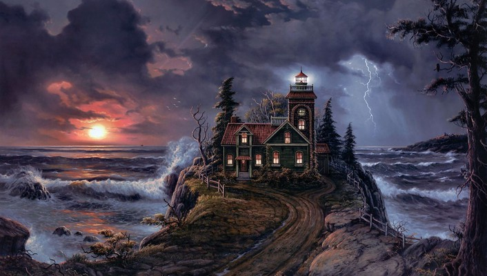 Jesse barnes artwork houses lightning sunset wallpaper