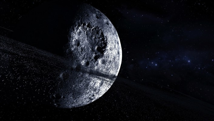 Outer space stars moon crater digital art wallpaper