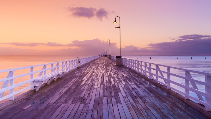 Coast horizon dawn pier australia skyscapes sea wallpaper