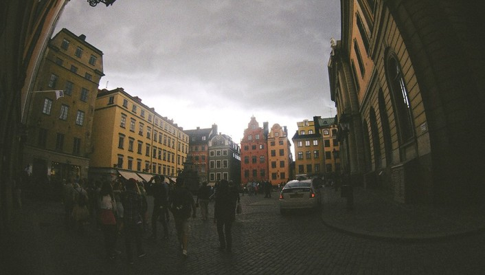 Cityscapes sweden summer fisheye effect wallpaper