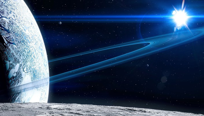 Outer space stars planets moons wallpaper