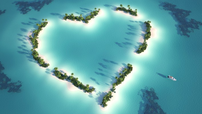 Hearts islands love nature sea wallpaper