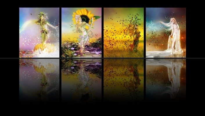 Spring goddess panels reflections simple black background wallpaper