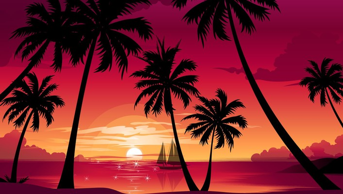 Paradise resort sunset wallpaper