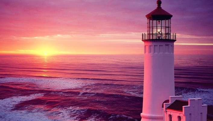 North head lighthouse in pink wallpaper