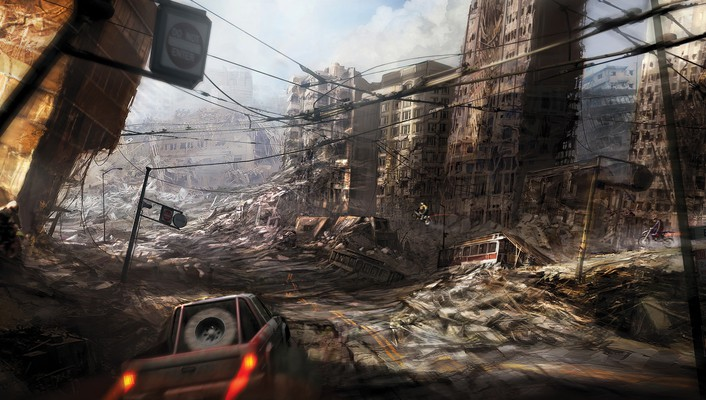 Ruins cityscapes post-apocalyptic artwork wallpaper