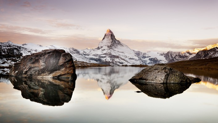 Nature snow lakes alps matterhorn wallpaper