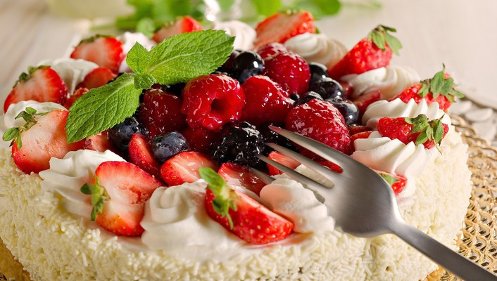 Cakes food forks fruits raspberries wallpaper