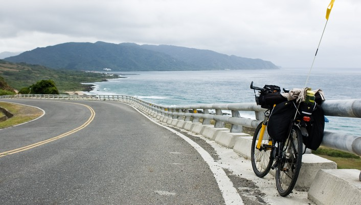 Asia taiwan bicycles landscapes ocean wallpaper