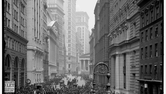 New york city buildings crowd historical monochrome wallpaper