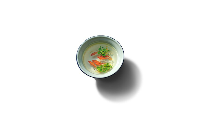 Minimalistic goldfish bowls artwork simple background white wallpaper