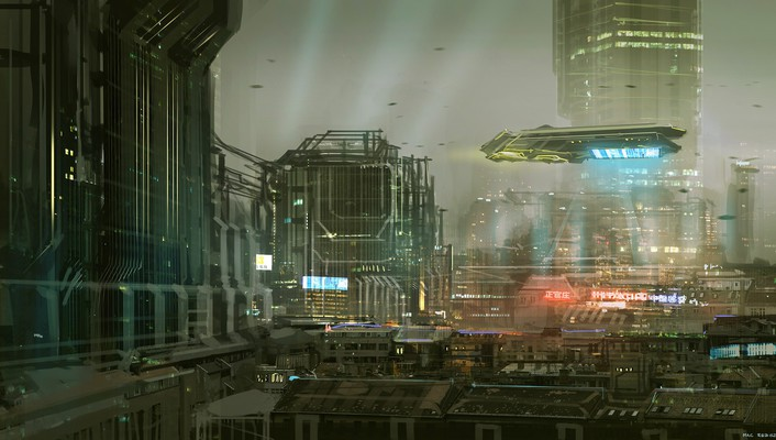 Cityscapes futuristic signs buildings spaceships science fiction artwork wallpaper