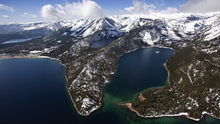California emerald lake tahoe aerial bay wallpaper