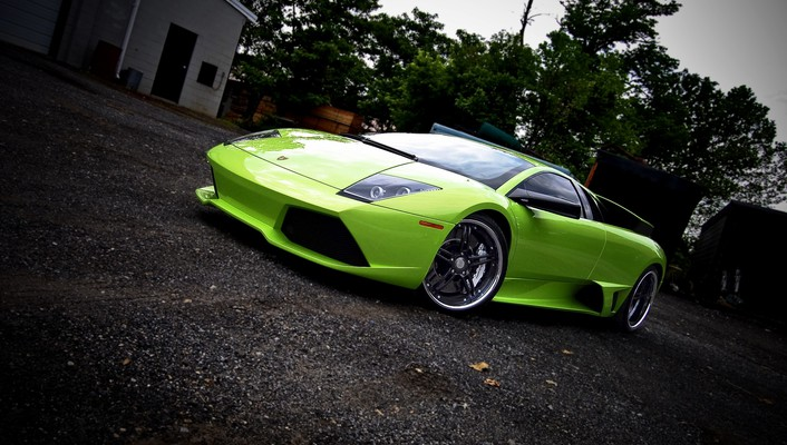 Italian lamborghini murcielago cars green wallpaper