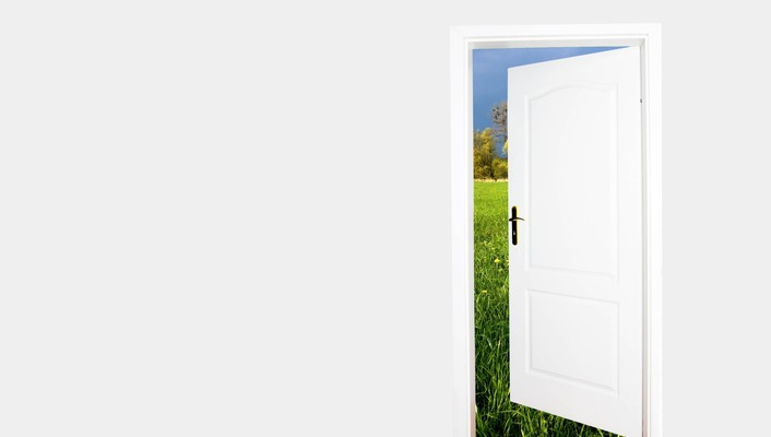 Nature minimalistic room white background door wallpaper