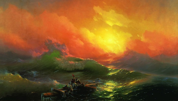 Waves boats ivan aivazovsky the ninth wave wallpaper